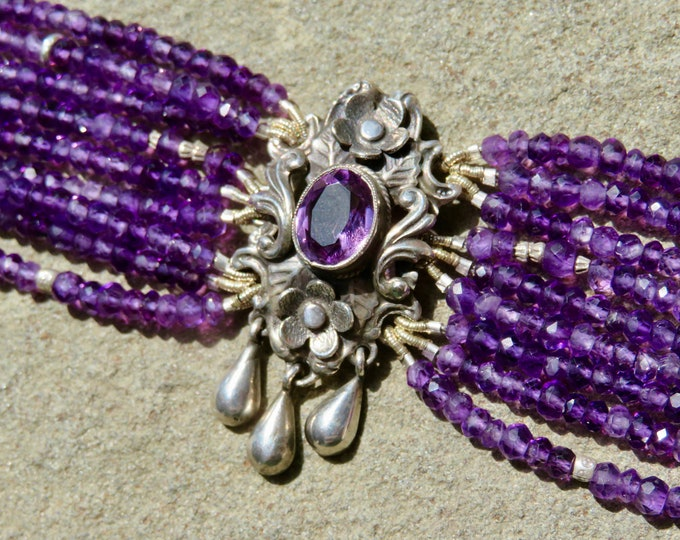 Featured listing image: Peruzzi Jewelry, Multi Strand Gemstone Bracelet, Repurposed Peruzzi Brooch, Amethyst Jewelry, Purple Gemstone Bracelet, Amethyst Bracelet