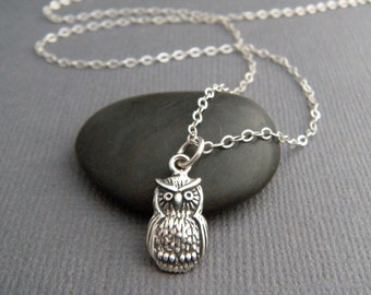 tiny silver owl necklace. small sterling silver animal pendant. spirit totem small simple wisdom symbol jewelry. bird good luck charm  5/8""