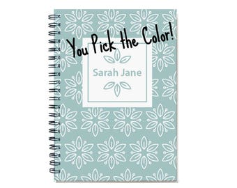 2018 Monthly Planner, 2018-2019 Personalized 12 Month Calendar Notebook, 2018-2019 Start Any Month, Custom Gift Idea, Book, SKU: pn wht fl