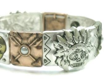 Sugar Skull Bracelet Southwest Stretch Day of the Dead Dia de los Muertos Metal Sugar Skull Bracelet Silver Gold Copper Arrow Rocker