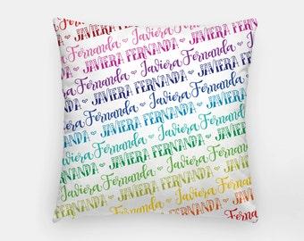 Pillow - Custom name - Rainbow color