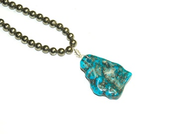 Genuine Turquoise and  Pyrite Necklace - Huge Turquoise Pendant - Blue Stone - Statement Jewelry