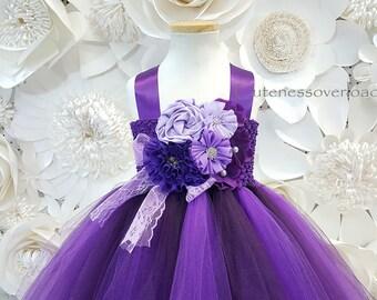 Eggplant Flower Girl Dress-Eggplant Tulle Dress-Eggplant Girl Dress-Girl Tutu-Eggplant Wedding Girl Dress-Toddler Dress-Eggplant Lace Dress.