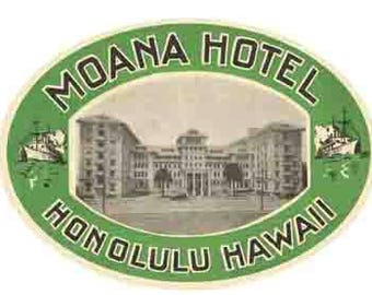 Vintage Style  Moana Hotel Honolulu HI Hawaii   Travel Decal sticker