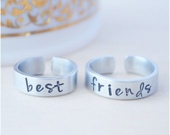 Best Friends Jewelry - Hand Stamped Personalized Rings - Custom Best Friends Rings - Besties - BFF Jewelry
