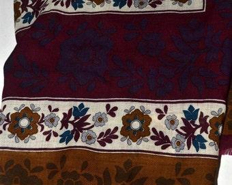 Vintage Adrienne Vittadini Wool Scarf Brown Gold  30 inch Sq