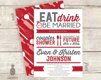 Eat, Drink, & Be Married Kitchen Couples Shower Invitations