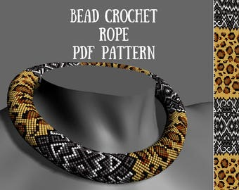 Bead crochet rope pattern Beading patterns Bead crochet pattern Leopard beaded necklace patterns Beaded jewelry patterns for seed beads PDF