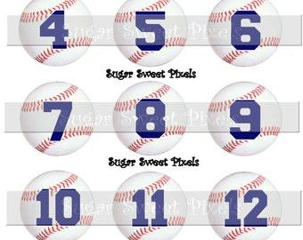 INSTANT DOWNLOAD Baseball  Navy Blue  Numbers 1 inch circle digital bottlecap Images