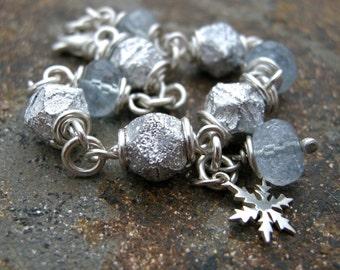 aquamarine and glass bead bracelet, snowflake charm bracelet, beaded bracelet, link bracelet, chain bracelet