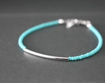 Silver Bar bracelet - friendship bracelet - Turquoise