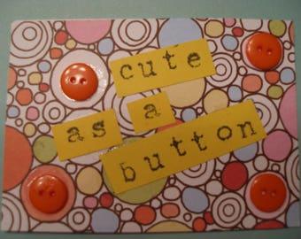 ACEO ARTIST TRADING Card  Cute as a Button Mixed Media