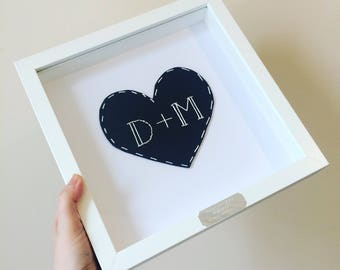 Framed Personalised Leather Heart - 3rd Wedding Anniversary Gift