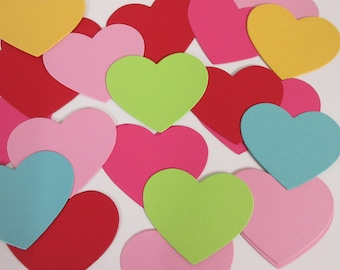 """60 Heart Die Cuts- Party Decor, Favor Tags, Diy Garland, Heart Gift Tags  -PICK YOUR COLORS 3 1/4"""""""