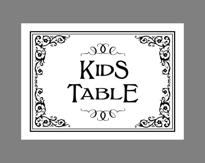 KIDS TABLE - PRINTABLE Wedding sign  - Traditional Black Tie design - Black White Wedding
