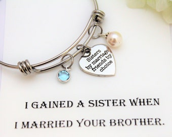 SISTER OF The GROOM Gift Sister of the Groom Bracelet, Sister in Law Wedding Gift Sisters by Marriage Friends by Choice Personalize Bracelet
