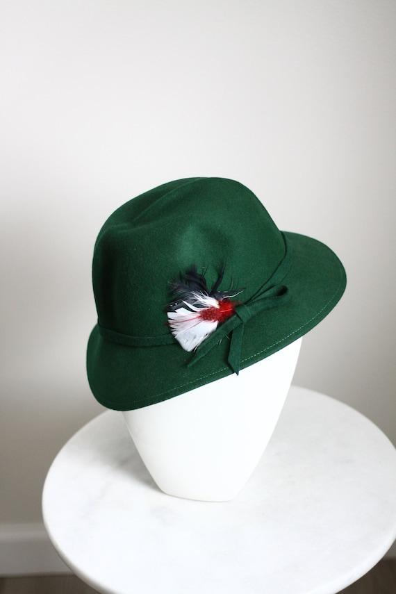 1960s green felt fedora hat // 1950s green hat // vintage hat