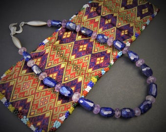 Faceted Lapis Lazuli and Amethyst Necklace