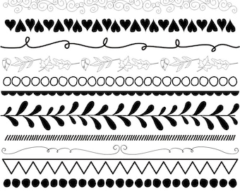 31 Piece Digital Borders Clip Art, Flourishes, Hand Drawn, Doodle Borders, Black and White