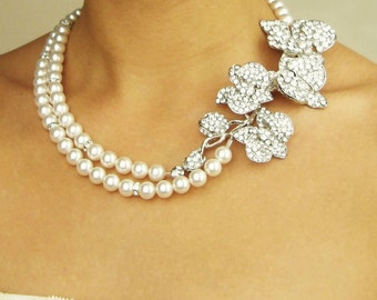 Wedding Necklace, Statement Bridal Necklace, Orchid Bridal Jewelry, Pearl Wedding Jewelry, ORCHID BLOOM