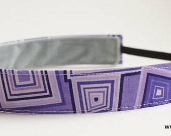 Purple and Black Geometric Fabric Headband, Non Slip Headband (Non Slip Velvet Lining)