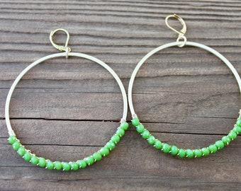 Green Bead Hoop Earrings