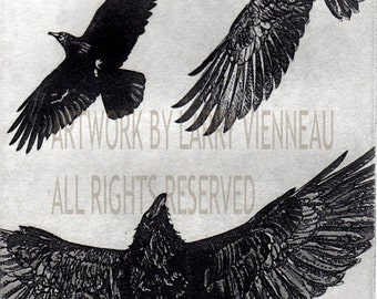 Flight, Raven artwork , Raven, crow,  Etching, . assored color, 5 inch x 7 inch 2013