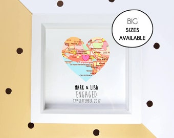 Map heart frame, engagement gift for couple, proposal gift, couple frame, romantic gift, anniversary gift, wedding gift DIGITAL