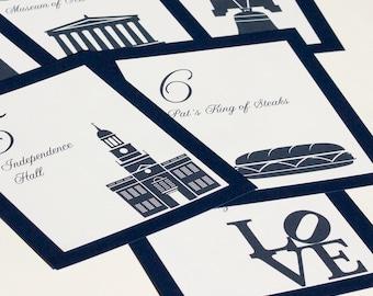 Philadelphia Table Number Wedding Sign Decor City Icons Landmarks Silhouette Custom Quantities available