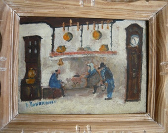 Norman farm interior oil paintig 1930 on wooden panel natural wooden frame typical norman blue clothing rustic farmhouse cooking fireplace