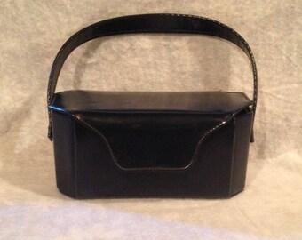 Vintage Blue Patent Leather Handbag