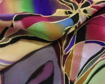 """Silk Scarf """"Colourful"""". Hand painted. Batik process. Unique item."""