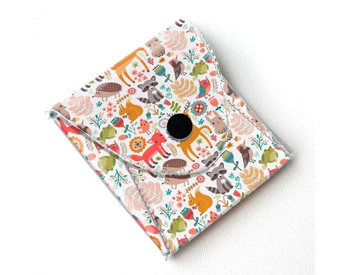 Vinyl Coin Purse - Fall Forest2 / wallet, vegan, change, snap, small, little, pocket wallet, gift, woodland, fox, owl, deer, gift, bird