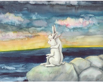 RESERVED for LS - Original Art - Watercolor Rabbit Painting - Our Sunset