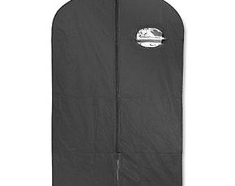 "24"" x 40"" Zippered Black Vinyl Garment Bag w/ Window"