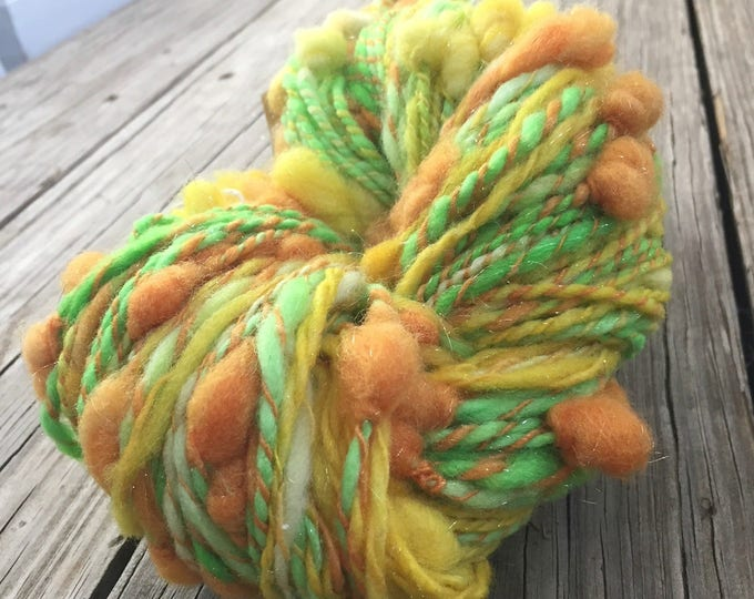 Cocoons Art Yarn Citrus Bubbles Handspun Yarn Bulky 2 ply wool angelina Sparkle lemon yellow lime green orange FiberTerian 132 yards