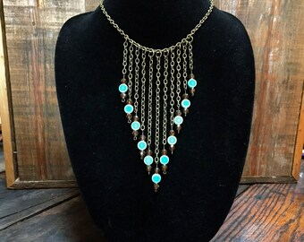 Antique chain & teal beaded necklace