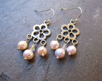 Wedding anniversary, white pearl, chandelier earrings, little small gift, petite dainty, mixed silvers, freshwater pearls, glass crystals