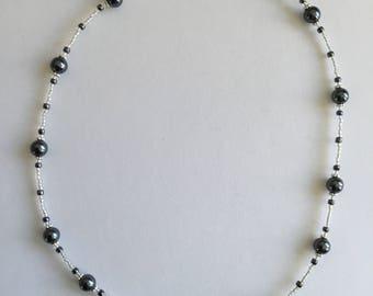 Dark grey beaded necklace