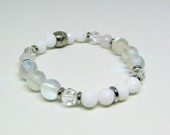 Bracelet - Swarovski Crystal - stainless steel - white - MOONLILGHT