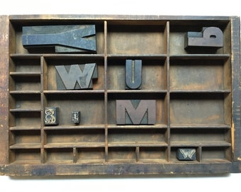 Antique Wooden Typeset Letterpress Drawer with 8 Stamps