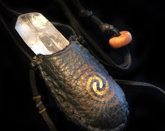 Tabby Sunrise Medicine Pouch ※ tabular crystal rutilated ritual piece agate Northwest Southwest quartz magic desert wild leather