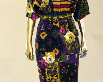 1980s Dolman 3/4 Sleeves, wrap front, Low back with tie at neck, Belted fitted Dress.
