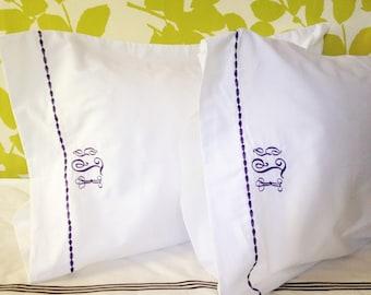 Monogram King Sheet Set  with Custom Embroidered Border / Monogram Bedding