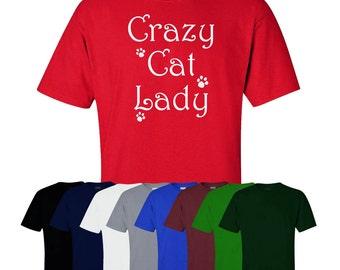 Crazy Cat Lady T-shirt Funny Animal Lover Gift Joke Novelty Present S-XXL