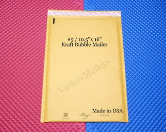 """5 Kraft Bubble Postal Mailing Large Envelopes #5 / 10.5""""x 16"""" Padded Self-Sealing Mailer ~ Free Shipping ~ Made in the USA!"""