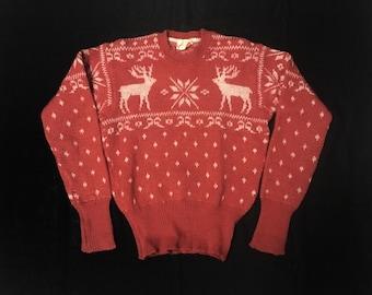 Vintage 1930s 1940s Jantzen Reindeer Sweater Knitwear / Snow Pattern / Nordic Style / Wool Knitting