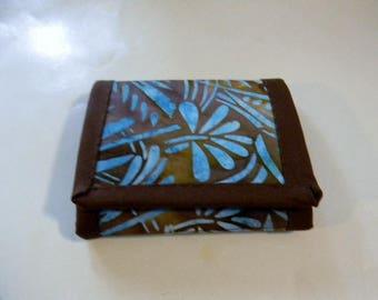Brown and Blue Batik Trifold Wallet