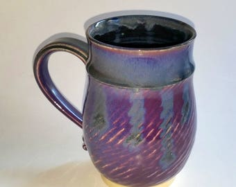 Purple Black and Blue Mug - Wheel Thrown Pottery - Holds 20 ounces or 2  1/2 cups with some room to spare!