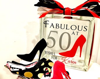 50th Birthday Wish Block - Wish Jar - Red High Heel Themed - Fabulous at 50  - Unique Guest Book
